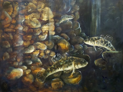 """Bullies Beneath the Inangahua"", 760 x 910mm, oil on Canvas, Sold"