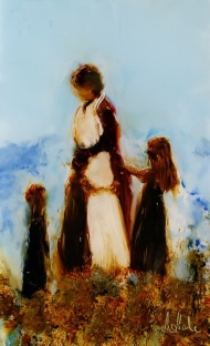 "sold""A Busy Mother"", minature oil on glass, 110 x 65mm, $190 NZD"