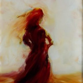 sold lady in red dancing
