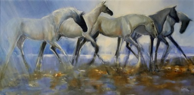 """""""Five In A Changing Light"""" oil on canvas 500 x 910mm sold"""