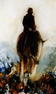 """""""Gentleman Rider"""" minature oil on glass, 110 x 65mm $180 NZD"""