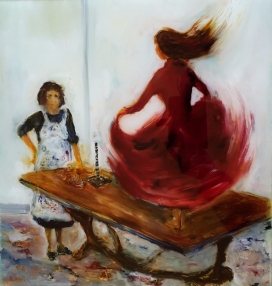 Sold Mother,Daughter,Hemming. Oil on Glass