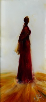 """Sold""""Lady In Red Waiting"""" minature oil on glass, 122 x 55mm $220 NZD"""