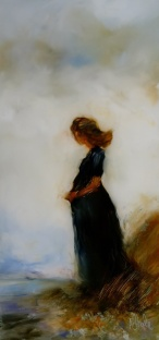 "sold""Alone "" oil on glass, 230 x 108mm $340 NZD"