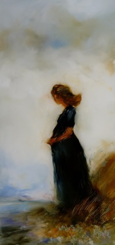 """sold""""Alone """" oil on glass, 230 x 108mm $340 NZD"""
