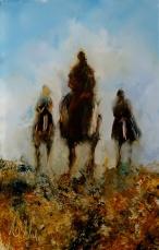 """sold""""Three Riders"""" minature oil on glass, 95 x 58mm, $150 NZD."""