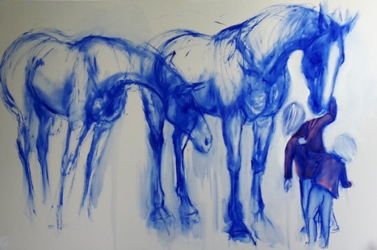 """Two Horses, Two children In Blue"", oil on canvas, 1010x1520mm sold"