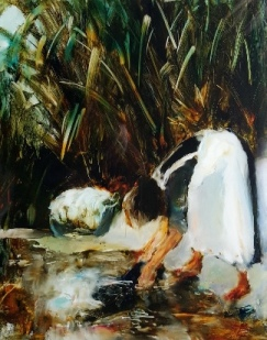 "sold""Washday and Flax"" oil on glass, 289 x 260mm"