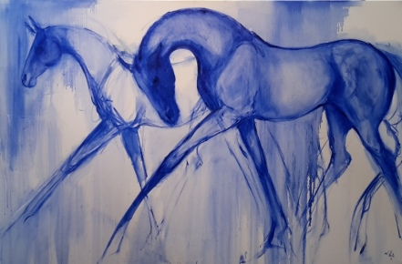 Graceful in Blue. oil on canvas. on hold