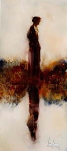 """sold""""Alone Again"""" oil on glass, 193 x 83mm, $275"""