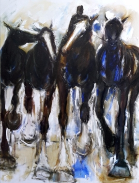 Sold Leading Three 2017, oil on Canvas . 1215 x 910