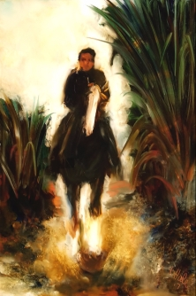 """on hold""""Rider and Flax"""" Oil on Glass 288 x 198mm $480"""