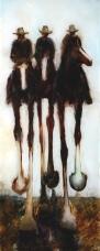"""Six Coasters"" Oil on Glass 640 x 256mm"