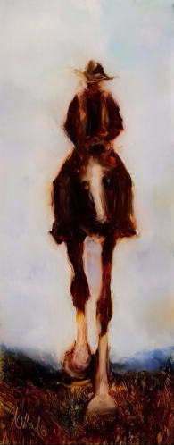 """""""Valley Rider 1"""" oil on glass 253 x 98 mm $350"""