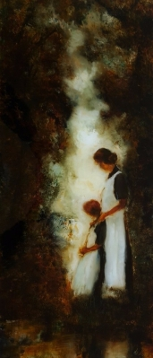 sold A Mothers Love, oil on Glass ,690x298mm, Painting