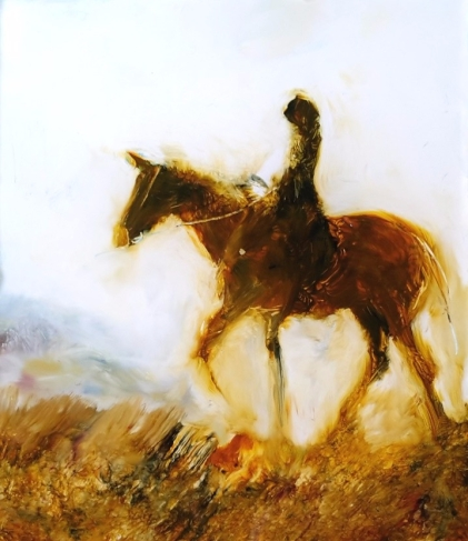 sold Lady Rider, oil on Glass,miniature,75x65mm $80 Image appears brighter than the original painting