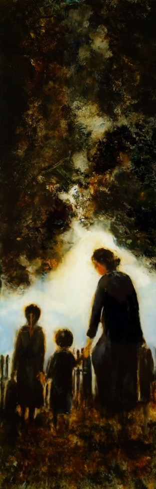 "sold"" Pioneer Woman and Two Children"", oil on glass, 830 x 265mm $930"
