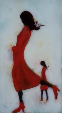 "sold""Lady in Red"", Oil on Glass 379x270mm $640"