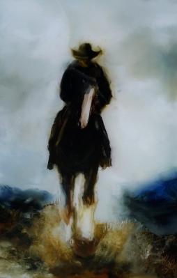 """""""Lone Stockman no 2"""" oil on Glass 292 x184mm $450"""