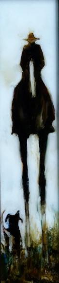 """The Rustler"", oil on glass 525 x115 $640"