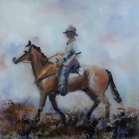 sold to Glasgow .Riding the Dun, oil on glass,