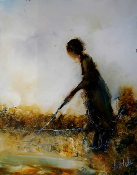Girl with Stick, oil on glass, 83x63mm, $145