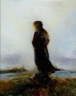 sold Standing in the Breeze , oil on Glass 103x83mm $160