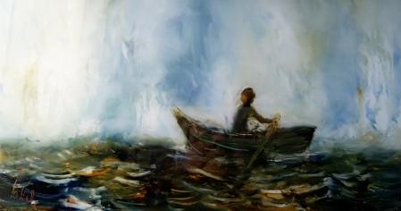 web woman in rowing boat