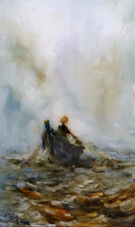 sold Woman Against the Tide, oil on Glass, 180x105 mm,