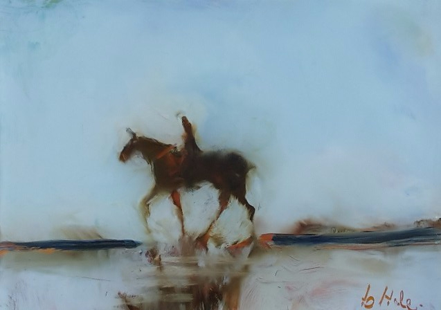 Beach Rider , miniature ,oil on glass, image may show some reflection. 125x90mm $212