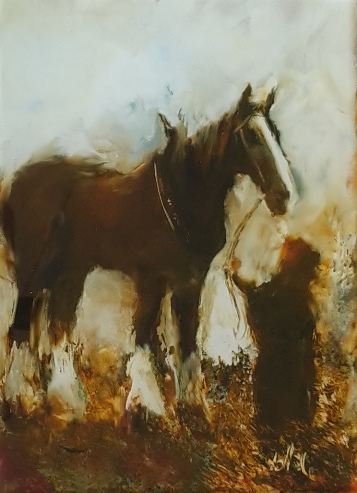 child and draught horse