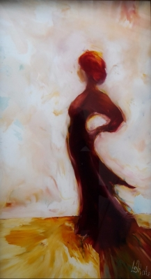sold Let it Begin! no 2(Lady in Red Series)oil on glass image may show some reflection 242x133 mm $360