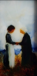 Goodbye oil on glass image may show some reflection, 220x103mm $280