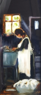 White Washing and a Coal Bin, oil on glass image may show some reflection,480x178mm $590