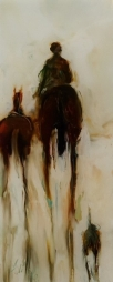 Leading the Chestnut oil on Glass 140x55mm