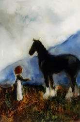 sold The Girl and the Draught oil on glass 285x185mm Image may show some reflection
