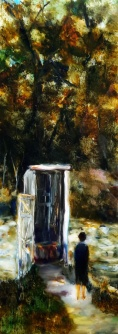 sold The Outhouse oil on Glass 860x242mm Image may show some reflection