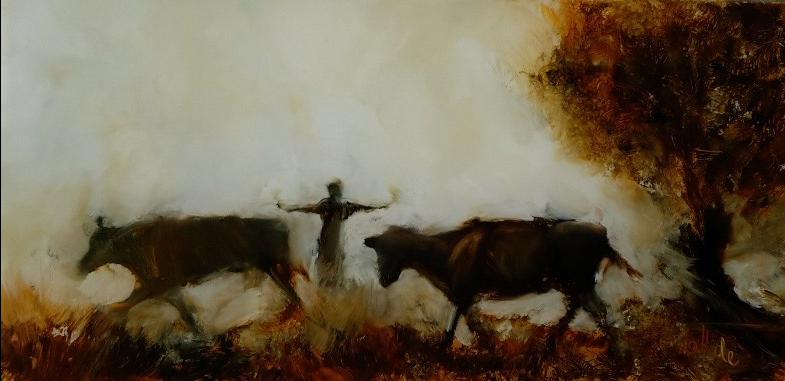 Escapees oil on glass 183x88mm image may show some reflection