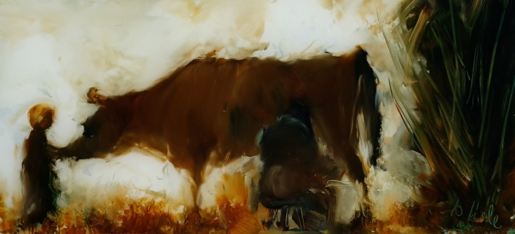 House Cow oil on glass. 200x94mm $300 image may show some reflection