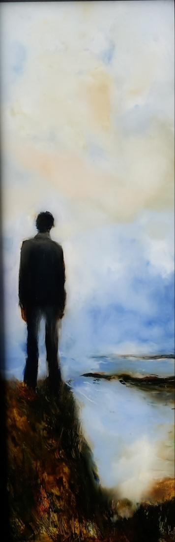 Man on a Cliff, oil on glass 525x172mm $