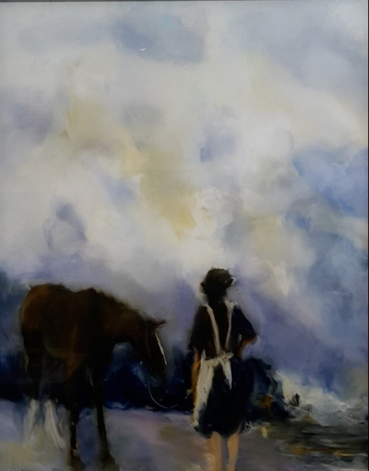 A Storm Brewing. oil on Glass 369x 289mm