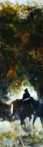 sold Leading the Black 660x190 $850. oil on glass . image may shows some reflection