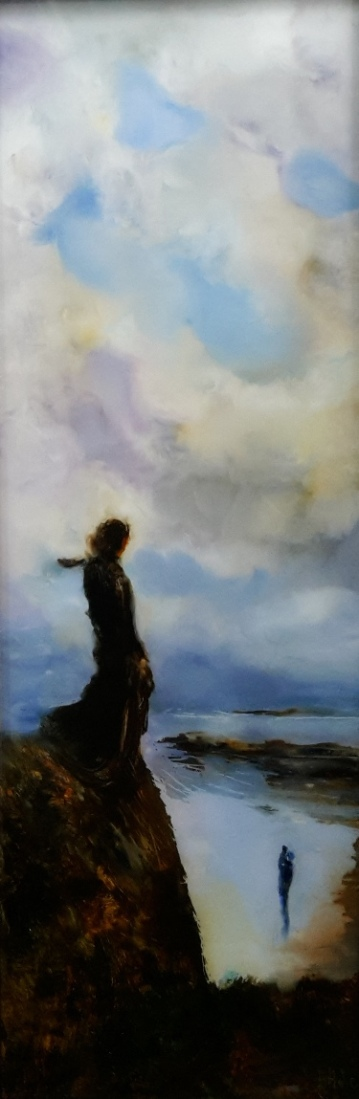 Woman on a Cliff, Oil on Glass. 525x172mm $70