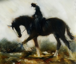 sold Heavy Horse and Rider oil on Glass 200x170mm $380
