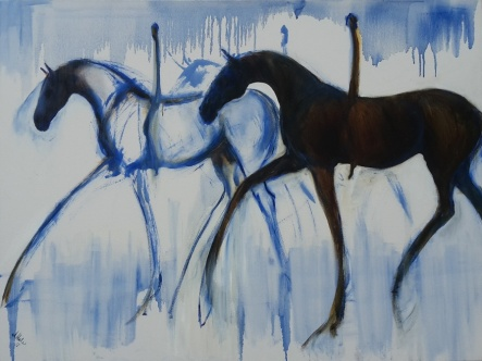 """""""Riding Light in Blue and Brown."""" oil on Canvas. 1015 x 760 mm $1450"""