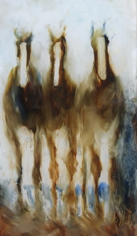 """""""Three in the Fog"""" Oil on Glass 220 x 125 mm $320"""