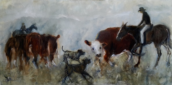 Young Stockman oil on canvas 760x375mm $880