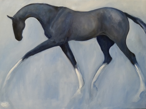 Graceful in Greys , Oil on Canvas, 1210 x 910 mm $3000