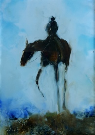 sold On His High Horse, oil on Glass. 106 x 73 mm. $180 minature