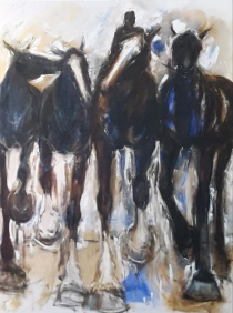 sold. Leading Three. Oil on Canvas 1210 x 910mm